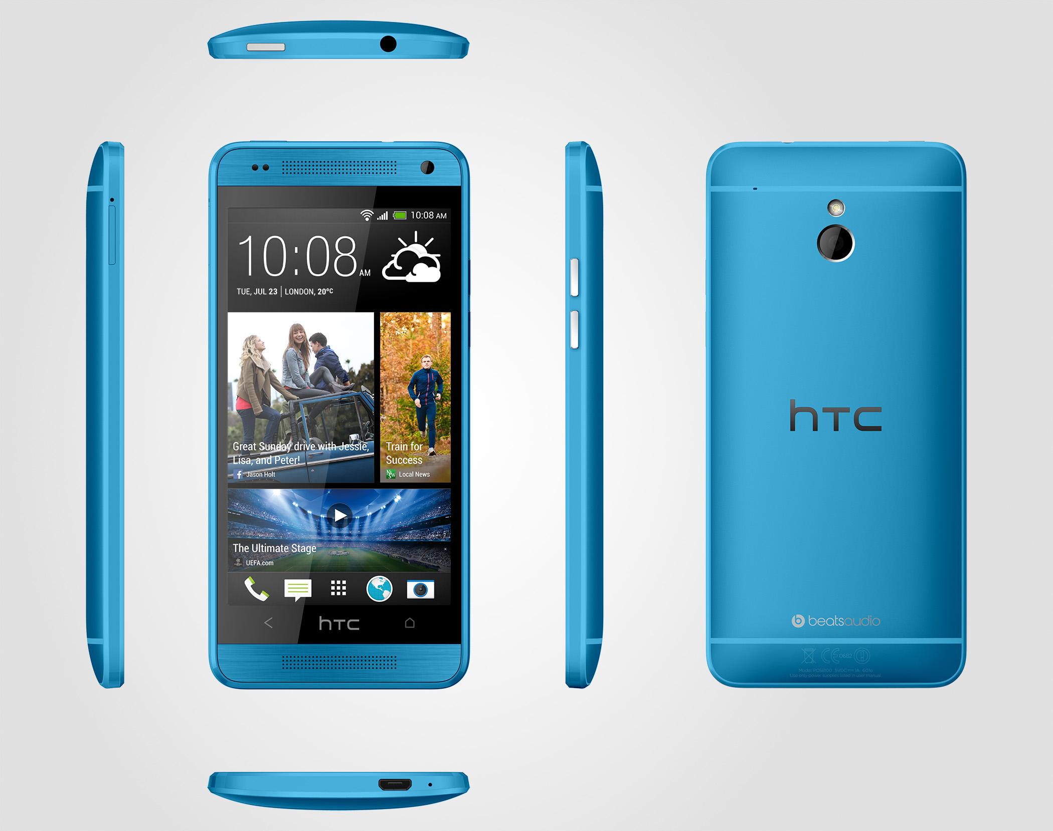 HTC One mini en color azul vívido Vivid Blue
