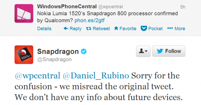 Qualcomm niega Snapdragon 800 en Lumia 1520