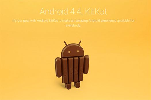 Android 4.4 KitKat Logo oficial mensaje