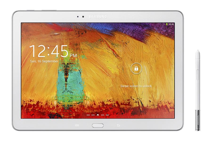 Samsung Galaxy Note 10.1 2014 Edition color blanco trasera cámara logo y S-Pen