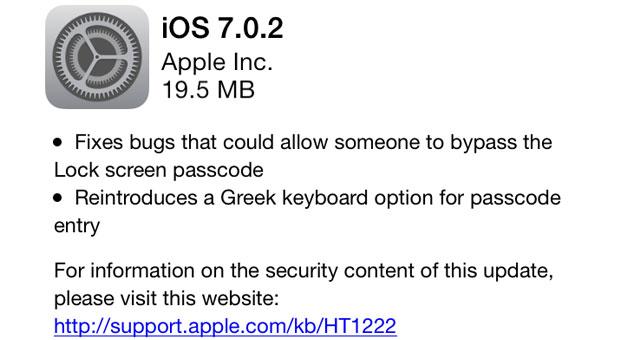 Apple update iOS 7.0.2