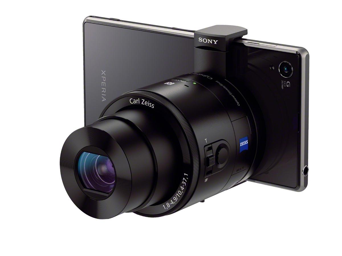 Sony Lente módulo QX100 para smartphones acoplado