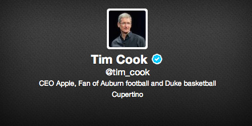 Tim Cook Apple CEO Twitter official
