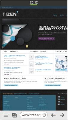 Samsung SM-Z9005 Tizen OS navegador
