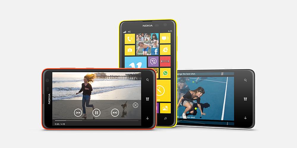 Nokia Lumia 625 en México colores Naranja, Amarillo y Blanco