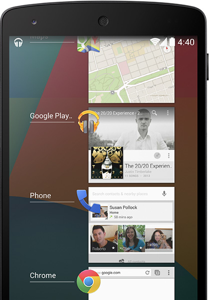 Android KitKat 4.4 Multitaksing