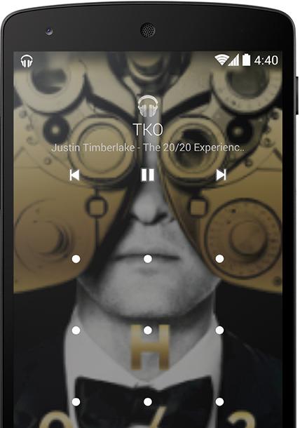 Android KitKat 4.4 Music Álbum en la pantalla de bloqueo