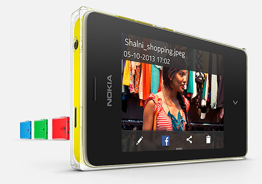 Nokia Asha 502 color amarillo frente 2