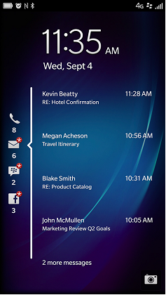 BlackBerry 10.2  Lock Screen notificaciones