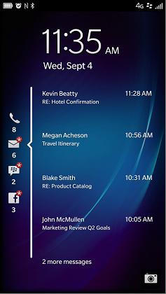 BlackBerry 10.2  Lock Screen notificaciones