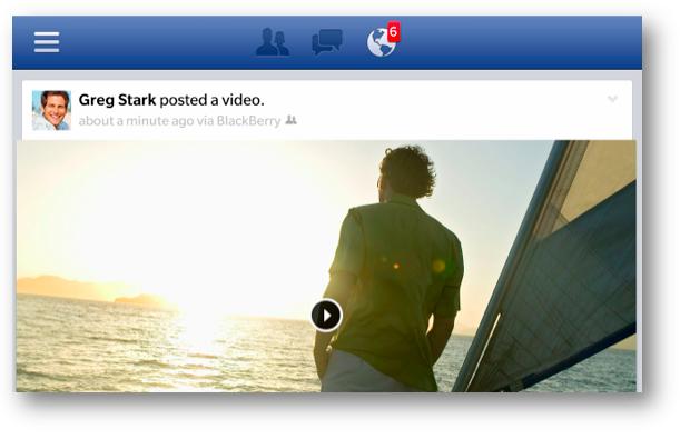 Facebook app para BlackBerry 10 Video en Landscape