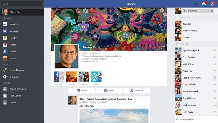 Facebook app para Windows 8.1