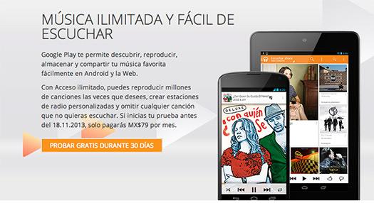 Google Play Music Acceso ilimitado en México