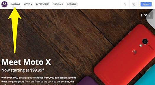 Google G en sitio de Motorola