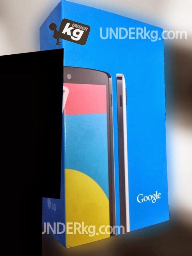 Nexus 5 color blanco en caja frente