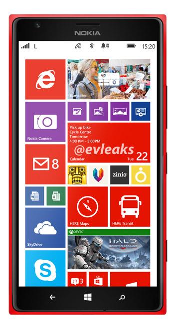 El Nokia Lumia 1520 phablet color Rojo imagen oficial Red
