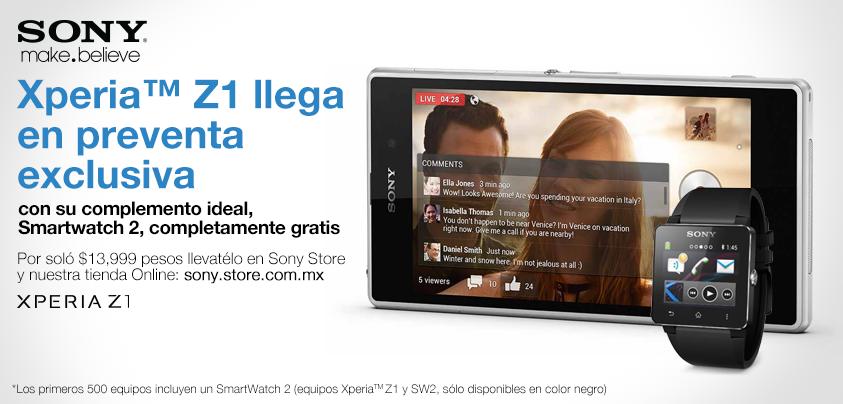 Sony Xperia Z1 en México con Telcel preventa especial con Smartwatch 2