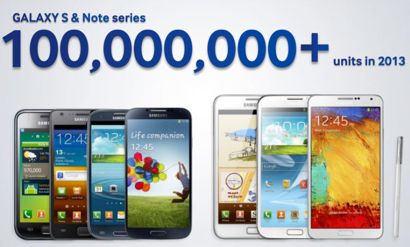 Samsung venta 100 millones de Notes y Galaxy S