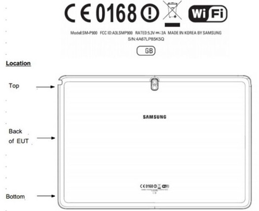 Galaxy Note 12.2 FCC dibujo