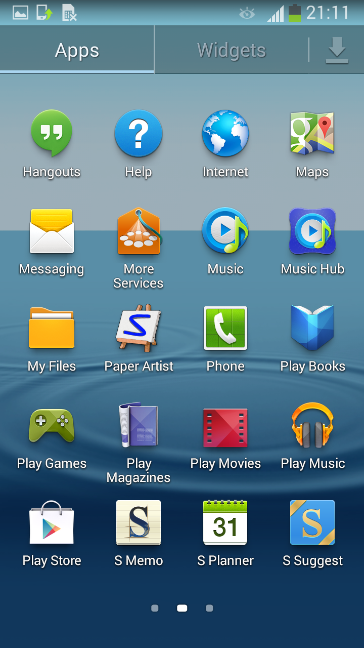 Samsung Galaxy S III con Android 4.3 Jelly Bean pantalla apps 2
