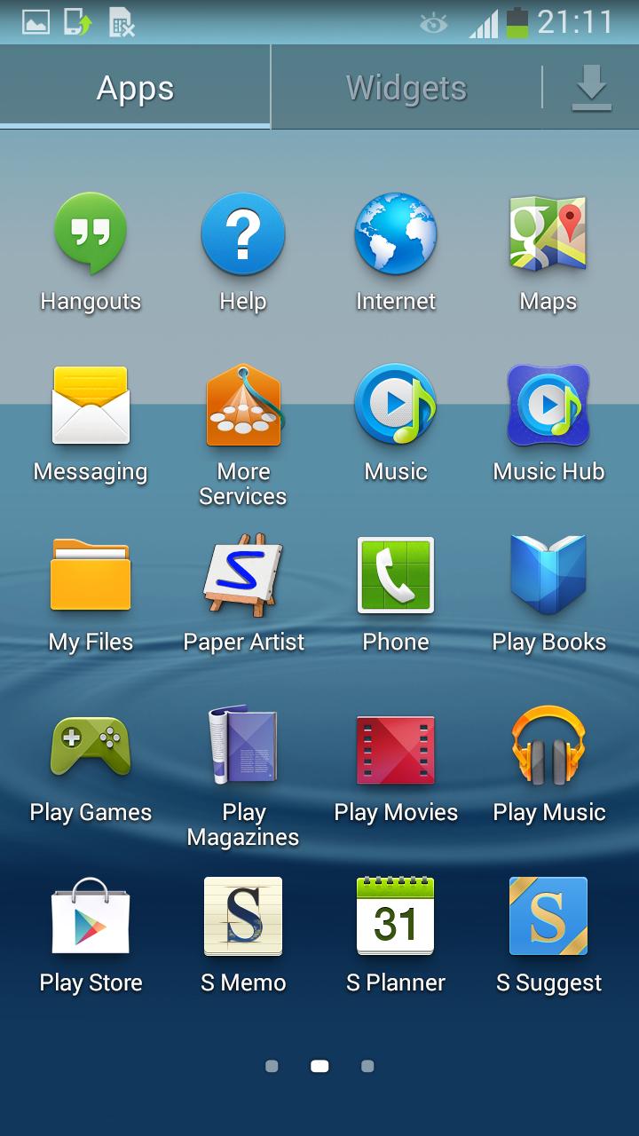Samsung Galaxy S III con Android 4.3 Jelly Bean pantalla apps 2
