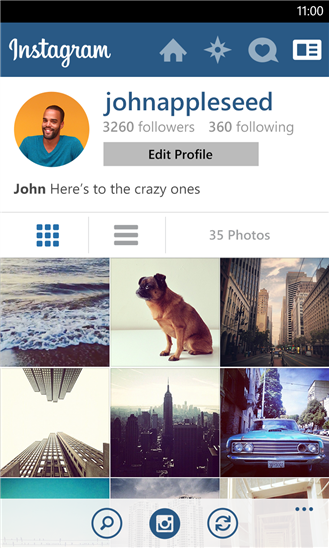 Instagram Windows Phone 8 Profile