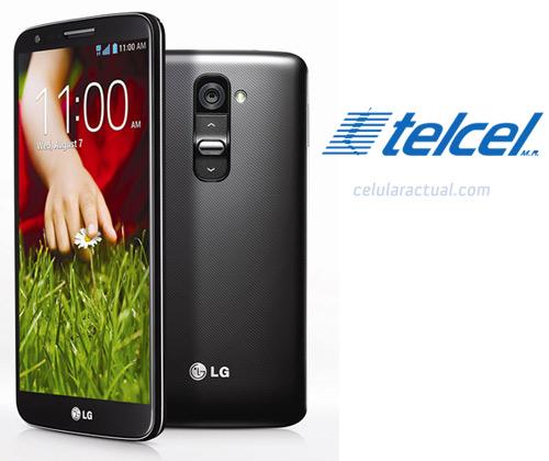 LG G2 en México con Telcel logos