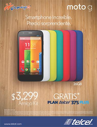 Moto G en México con Telcel 16GB precio Amigo Kit