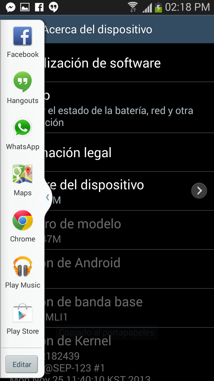 Capturas Samsung Galaxy S III Android 4.3 Jelly Bean en México con Telcel Barra Lateral