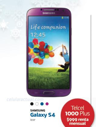 El Samsung Galaxy S4 color morado (Purple Mirage) en México con Telcel póster catálogo 2013