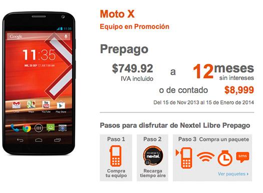 Moto X en Nextel Libre Prepago