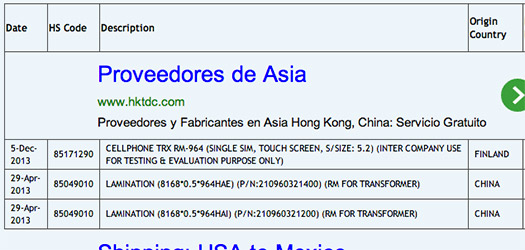 Nokia RM-964 registro importación testing