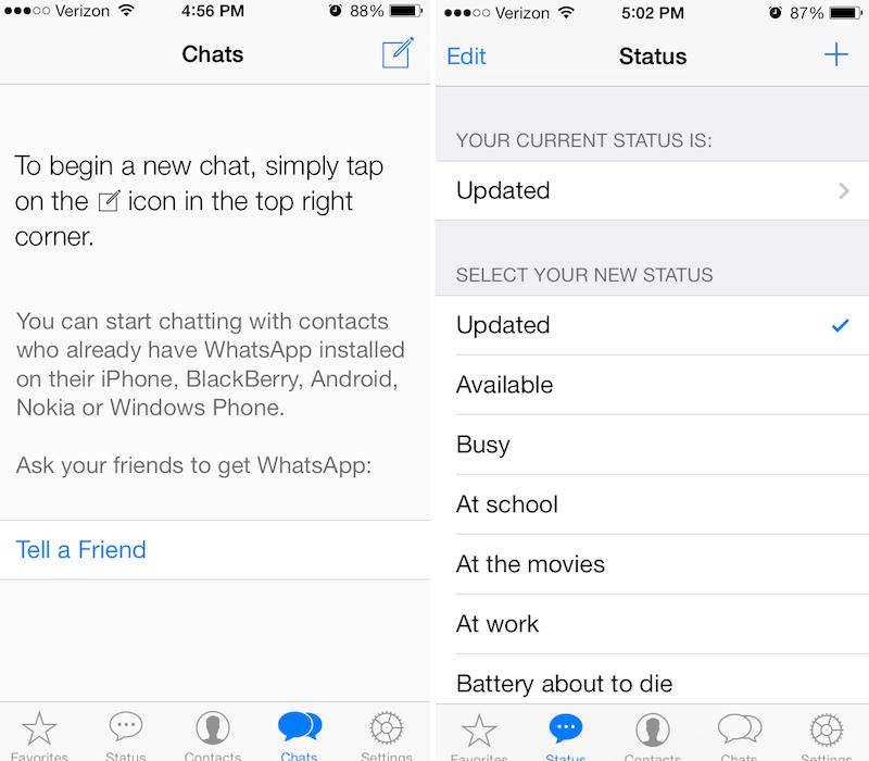 WhatsApp  para iOS 7 con nuevo diseño