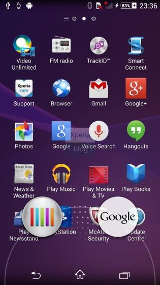 Xperia Sirius D6503 pantalla screenshot Android 4.4 KitKat  What's New accesos
