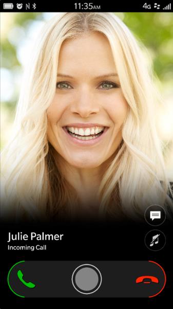 BlackBerry OS 10.2.1 Nueva pantalla de llamada entrante