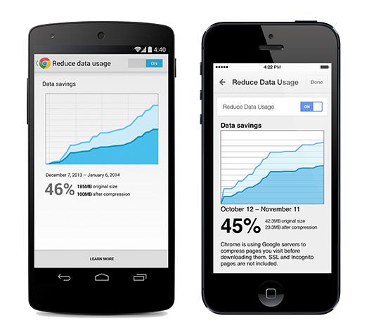 Nuevo Chrome para iOS y Android  con ahorro de datos móviles 1
