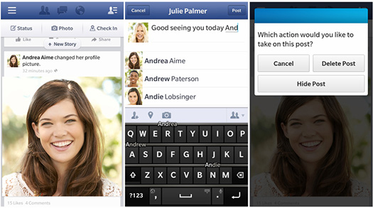 Facebook V10.3 para BlackBerry 10 se actualiza