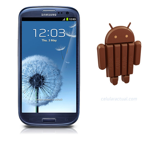 Samsung Galaxy S III con Android 4.4 KitKat logo