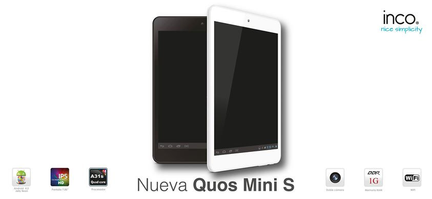 Inco Quos Mini S tablet negra y blanca ficha técnica