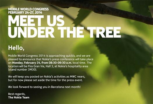Nokia invitación MWC 2014 24 de Febrero