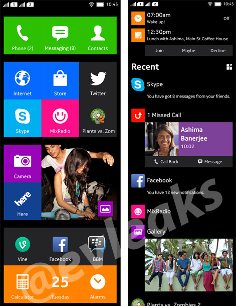 Nokia Normandy Android phone Home Time line