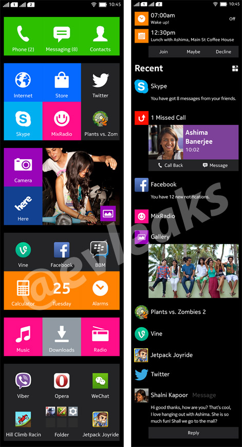 Nokia Normandy Android phone Home Time line completa