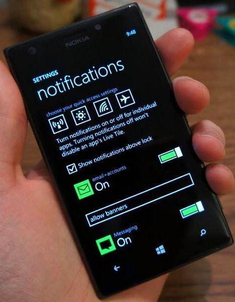 Windows Phone 8.1 Ajustes del Centro de notificaciones filtrado