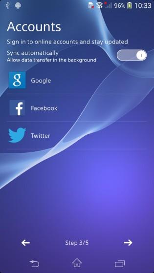 Sony Xperia Z2 interfaz de usuario filtrada accounts