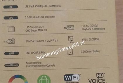 Galaxy S5 caja final con especificaciones filtrada