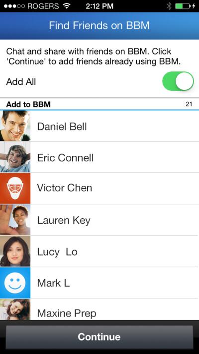 BBM Find Friends para iPhone