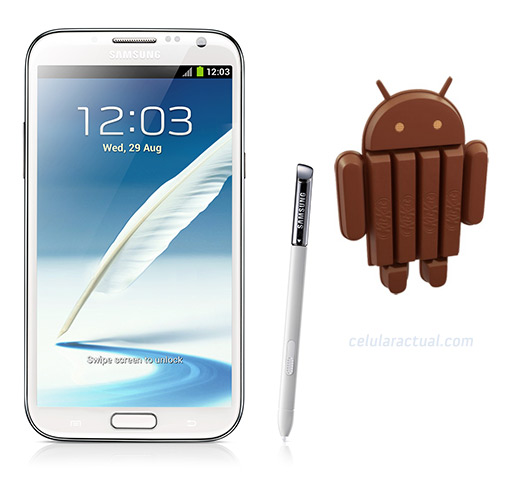 Samsung Galaxy Note II con Android 4.4 KitKat logo mascota
