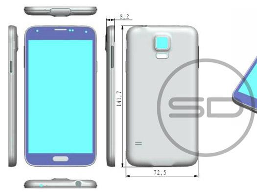 Samsung Galaxy S5 render con dimensiones detalle