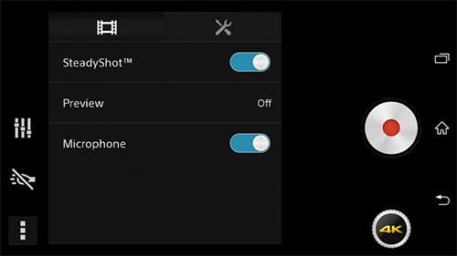 Sony Xperia D6503 Sirius camera app 4K  opciones