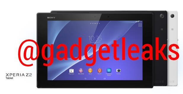 Sony Xperia Z2 tablet pantalla color negro y blanco cámara